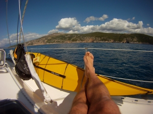Feet up, ready for the next leg of paddling Croatia