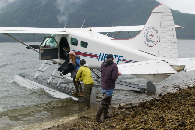 Packing the TRAK kayaks into a floatplane in Kootznoowoo. Photo: Bethany Goodrich