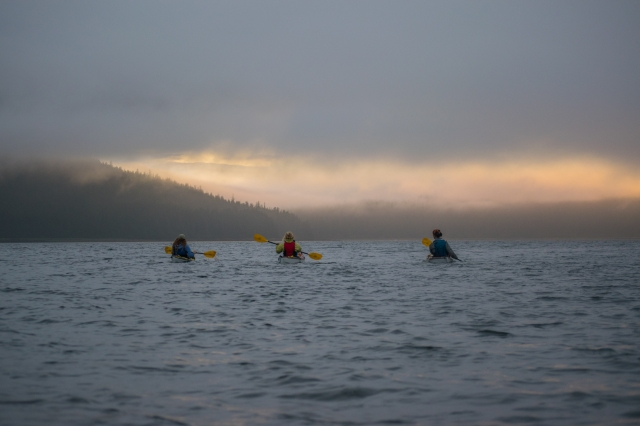 Sunset paddling in Kootznoowoo Wilderness. Photo: Bethany Goodrich